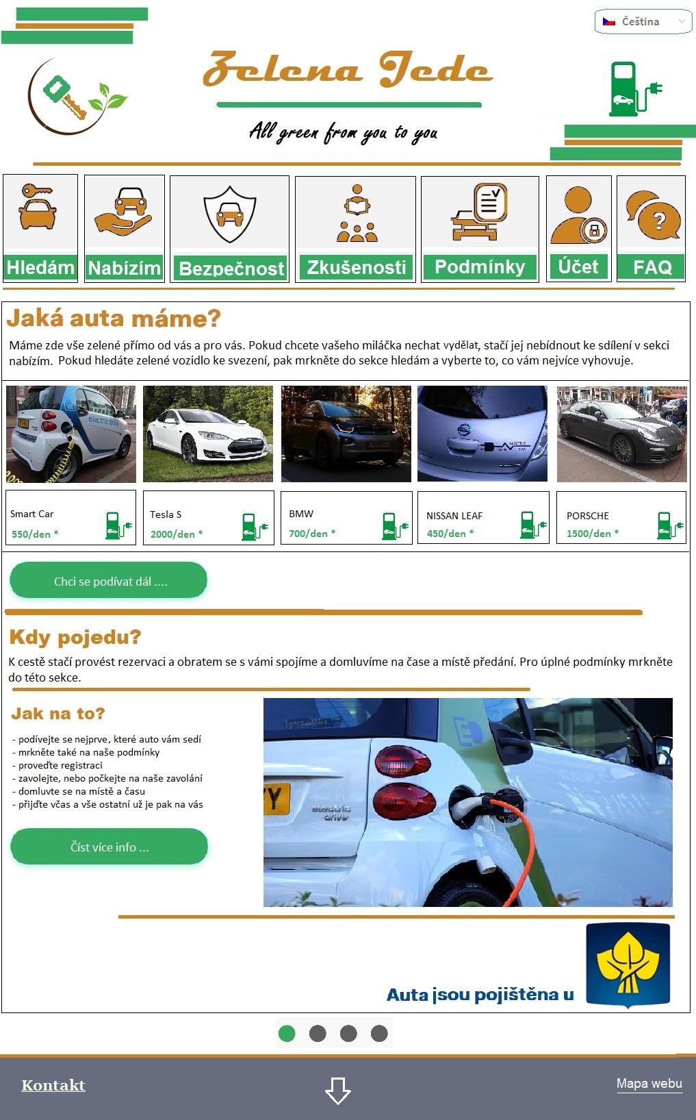 Car rental service: landing page