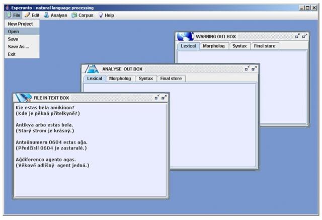 Language processing: main GUI