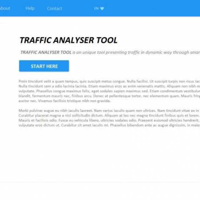 Traffic analyser: landing page